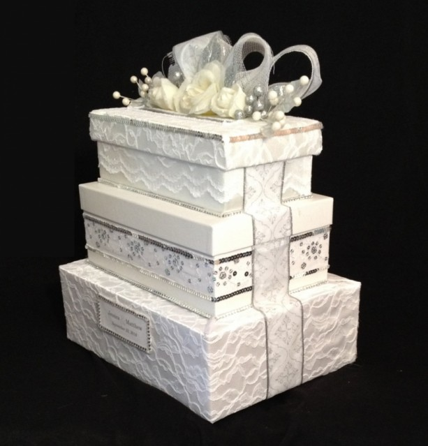 White Wedding Card Box, 3 tiers, All The Best Card Boxes | aftcra