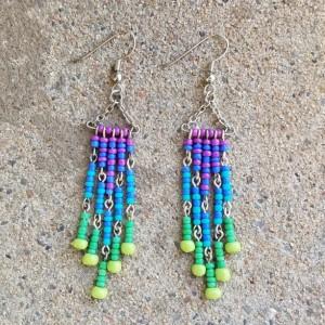 hanger earrings in purple, blue and green