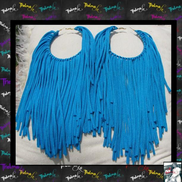 Blue Fringe Earrings,custom made earrings,fabric fringe,blue earrings,Handmade Earrings,Long Fringe,Unique Earrings,Lite Weight