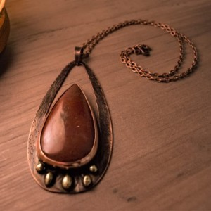 Bloodstone Tear Drop Copper Brass Pendant Necklace Handmade