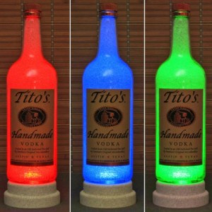 Tito's Handmade Texas Vodka Color Changing RGB LED Remote Controlled Bottle Lamp Bar Light