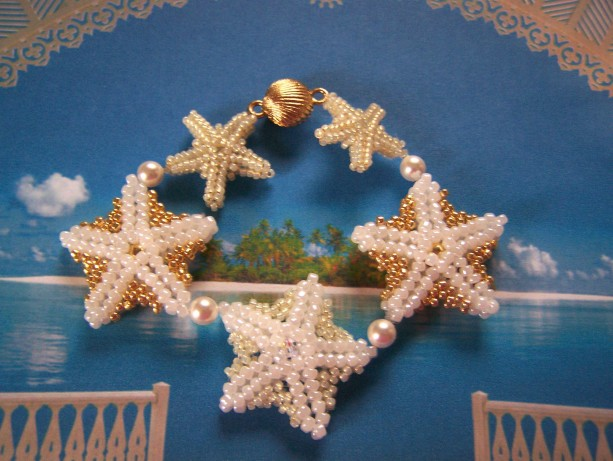 Starfish Bracelet Seed Bead Beach Bride Mermaid