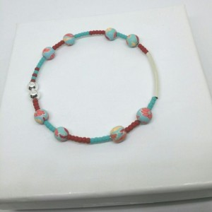 Red, Turquoise Seed Bead Silver Noodle Cuff Bracelet