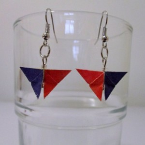 Upcycled butterfly origami earrings - color block red and navy print – recycled – repurposed – green – eco friendly  – upcycled paper