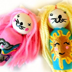 Kitty weather peg dolls / Kitty dolls / Rainbow / Gifts for girls / Sunshine doll / Natural wood toy / Peg people / Wooden doll / Small doll