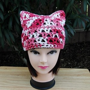 Summer Pussy Cat Hat, Red White & Pink PussyHat with Ears, 100% Cotton Lightweight Lace Crochet Knit Thin Warm Weather Beanie, Ready to Ship in 2 Days
