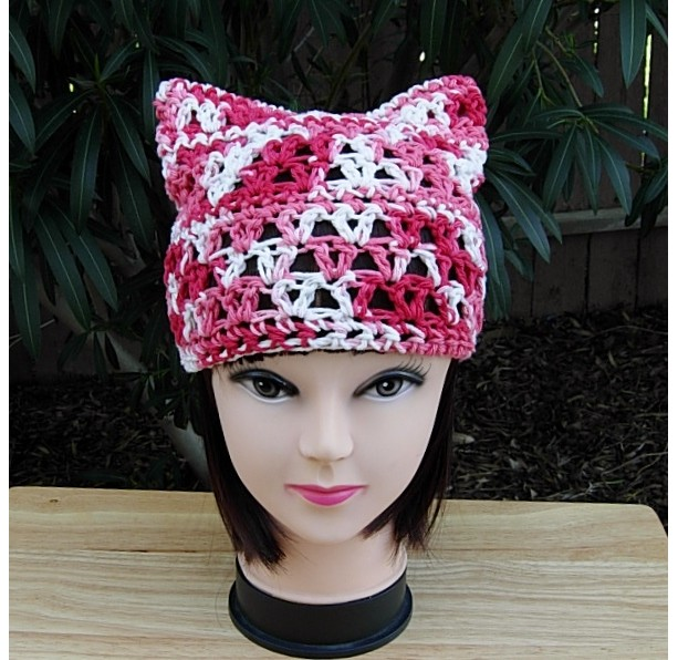 Summer Pussy Cat Hat, Red White & Pink PussyHat with Ears, 100% Cotton Lightweight Lace Crochet Knit Thin Warm Weather Beanie, Ready to Ship in 3 Days