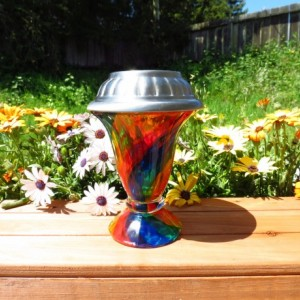 HandPainted Rainbow Solar Luminary Hurricane Lantern