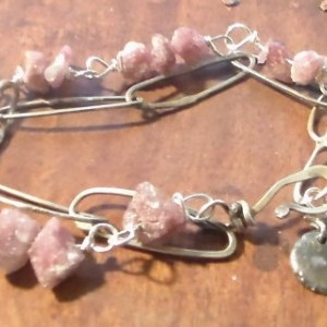 Pink Tourmaline Fine Silver and Sterling Silver Bracelet