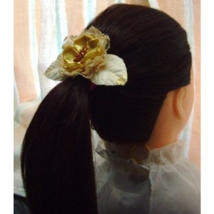 Natural Lace Flower Hair Clip w/Satin accents - Rustic country, Shabby chick, Wedding accessories
