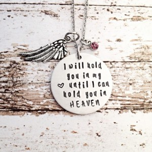 I will hold you in my heart, memorial necklace, sympathy gift, personalized jewelry, hand stamped jewelry, necklace, angel necklace