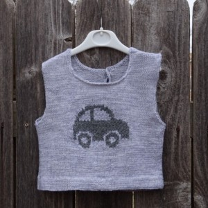 Hand Knit Vest, Knitted Grey Vest with Car, Vest for Boy Toddler 18-24 Mo, Sleeveless Sweater, Vest with Car, All Handmade, Ready to Ship