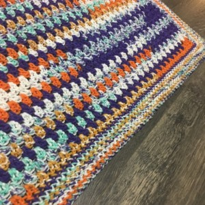 "Handmade multicolored ""wildflower"" crochet childs blanket"