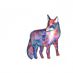 Galaxy Fox Watercolor Print from Original abstract, 8x0