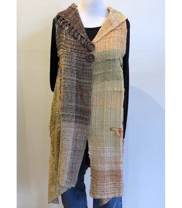 Long  Cotton Vest with Collar
