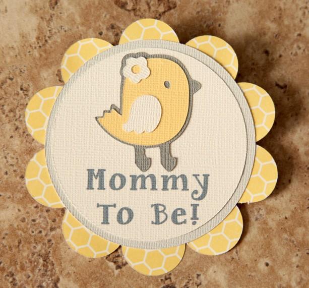 Chick Theme Name Tag Button Pin- yellow cream grey- (Quantity 4)