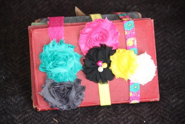 Teal, Fuchsia, and Yellow 3 Piece Headband Set