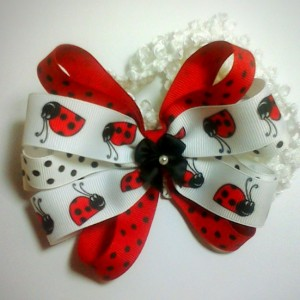 Set of 2 Handmade Polkadot Ladybugs Hairbow with matching Headband