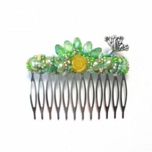 Large Green Princess Sparkle Frog Comb