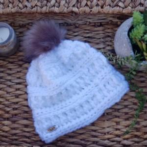 Pure white soft crochet handmade beanie hat