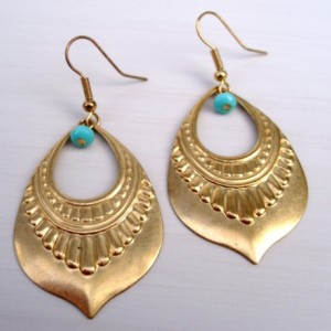 Brass And Turquoise Egyptian Earrings