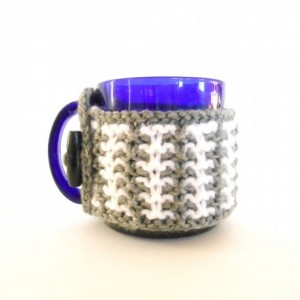 Knit Gray and White Mug Cozy