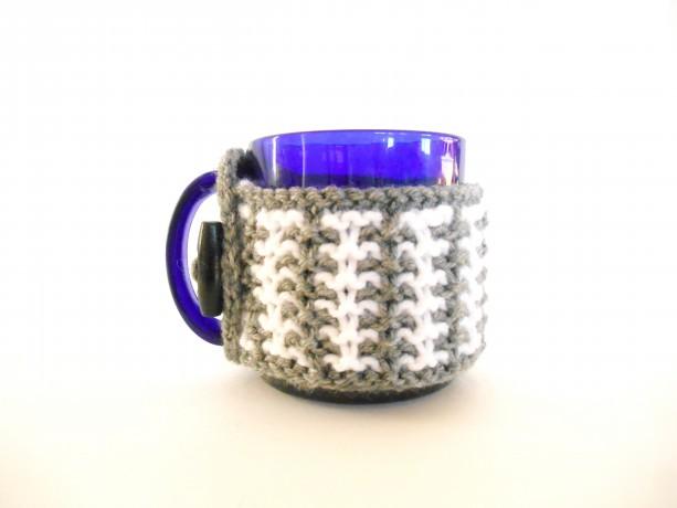 Knit Gray and White Mug Cozy