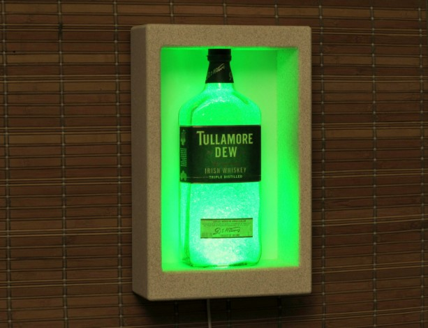 Tullamore Dew Irish Whiskey Color Changing Remote Controlled Wall Mount Sconce Liquor Bottle Lamp Bar Light  LED  Man Cave Decor Shadowbox