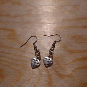 Made with love heart earrings