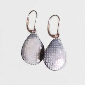 Teardrop Earrings Blue Jean Denim Textured Clay Drop REVERSIBLE Dangle Festival jewelry