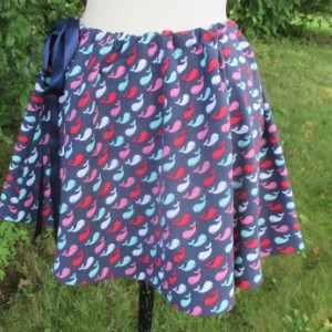 Handmade Drawstring Navy Whale Print Skirt Aline Cut Womens Juniors