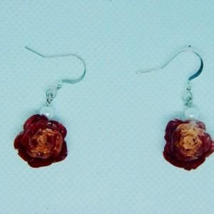 Rose flower earings, Flower flower earrings, Rose gold earrings