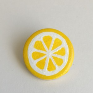 Handmade Brooch Lemon Pin Fruit Slice Clay Jewelry Artisan Accessory