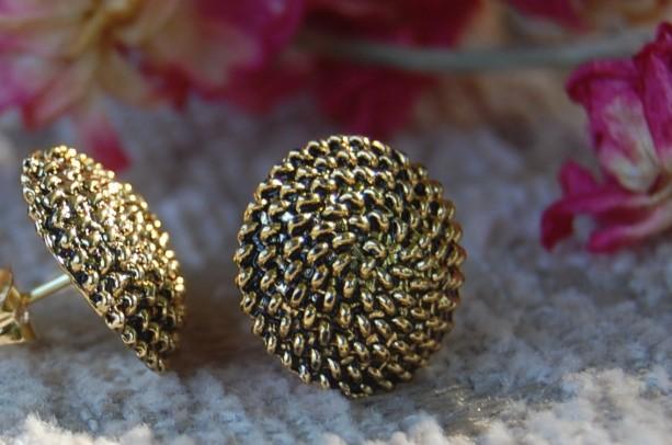 Spiral Design Button Stud Earrings