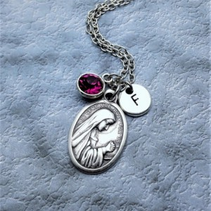 Personalized Saint Gertrude the Great Necklace. Patron Saint of Cats and Cat Lovers