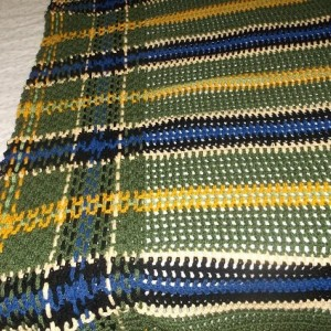 U.S. Army crocheted tartan afghan. Tartan # 6307 in International tartan index. Pattern from Annie's Attic military collection.