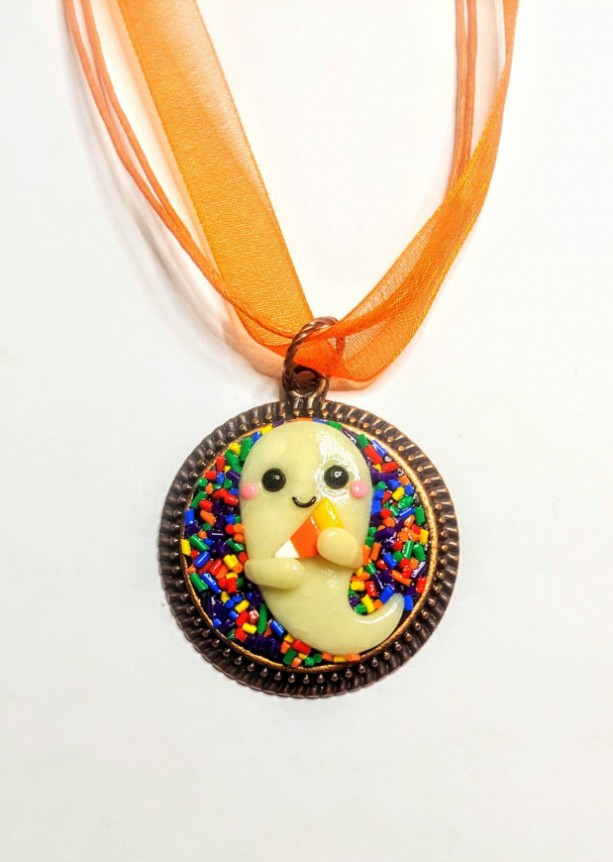 Polymer Clay Ghost Necklace, Glow in the Dark