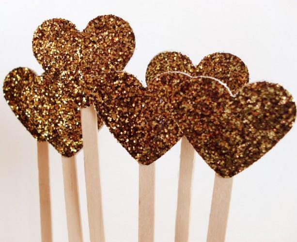Wedding Drink Stirrers, Wedding Glitter Decor, Golden Heart Cocktail Party Wooden Stir Sticks, Country Rustic, Princess Party Wands,  25 Pcs
