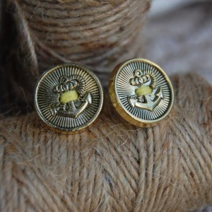 Nautical Anchor Button Stud Earrings