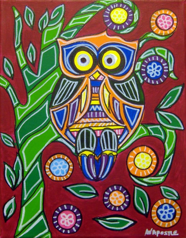 Mexican Folk Art - OWL - PRINT Signed By Artist A.V.Apostle