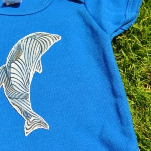 Blue Onesie with Dolphin Applique