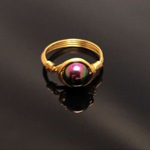 14kt Gold Filled Rainbow Hematite Wire Wrapped Solitaire Ring