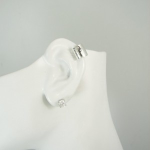 MINI Ear Cuff Cartilage Faux Helix,Fake Helix Earring No Piercing Hoop Earcuff Non-pierced Ear Ring Silver 10mm Hammered Domed MC10MSSHMDOME