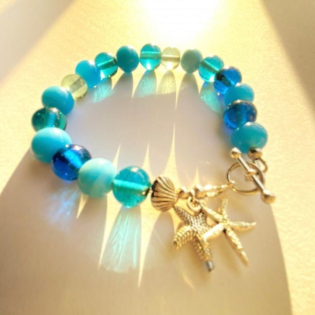 Blue Glass & Starfish Bracelet