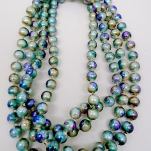"Hand Painted 52"" Pearl Necklace"