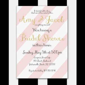 Pink and Gold Bridal Shower Invitation, Gold Glitter, Digital Invitation, Customized, Printable Invitation, Romantic and Elegant
