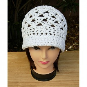 Solid Basic White Summer Beach Sun Hat with Brim, 100% Cotton Lacy Cloche, Women's Crochet Knit Beanie, Bucket Cap, Ready to Ship in 3 Days