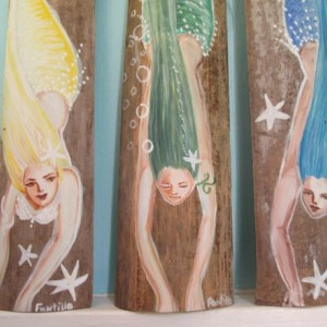 3 Diving Mermaids Original Painting- Fantasy beach Decor- Home Decor- Mermaid Gift Sets