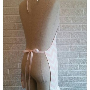Pale Pink Chevron Apron - Free Shipping, Made in The USA