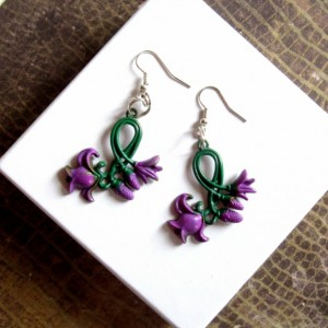 Purple Flower Earrings, Purple Tulip Earrings, Tulip Jewelry, Floral Earrings, Stamped Metal Earrings, Pair of  Hand Painted Earrings